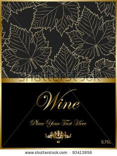 wine black elegant label