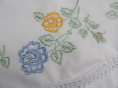 The Pink Rose Cottage - Vintage Embroidered Blue Yellow Pink Roses Pillowcases