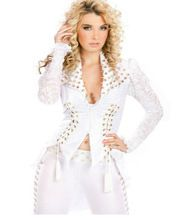 Gothic DS Sexy Wetlook Clubwear Catsuit For Women New White Rivet Fashion Two Pieces Suit Tops And pants Exotic Apparel W850769 //Price: $US $88.18 & Up To 18% Cashback //     #gothicoutfit