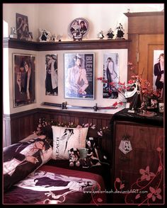 🌸 An old shot of just part of my Bleach Byakuya collection. This was taken before I moved and some of it is still packed up in boxes… Girl Bedroom Designs, Bedroom Themes, Bedroom Wall, Girls Bedroom, Bedroom Decor, Design Bedroom, Bedroom Ideas, Kawaii Room, Gamer Room