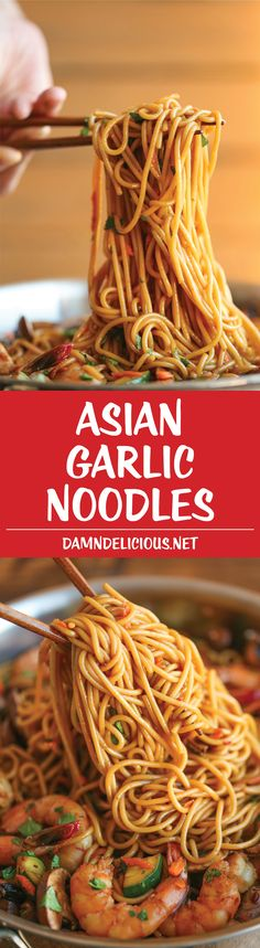 Asian Garlic Noodles - Easy Asian flavored stir-fry and sauce with shrimp, and fresh ingredients like bell pepper, zucchinis, carrot, and cilantro. Made in less than 30 minutes!