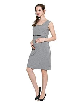 9964976a5d BabyPreg Women Maternity and Nursing Dress Pregnancy Breastfeeding Long  Tank Top L Gray -- You