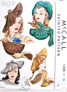 1940s Rare Hat Bag and Gloves Pattern McCall 1328 Stunning Over Sized Beret Vintage Sewing Pattern
