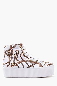 Hiya Platform Sneaker in White Chain