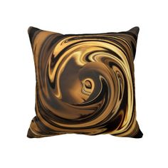 Abstract Art In Chocolate N Gold Throw Pillow