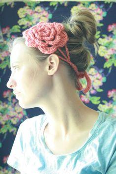 cute crochet flower headband