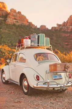 First trip ever as husband and wife, Mike and I went on our honeymoon to Gatlinburg TN, Greenville, South Carolina and Atlanta, GA in a little VW bug just like this one.