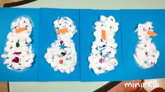 The kids just loved building their own snowmen using fluffy cotton balls! You may need: Blue A4 construction paper White cotton balls Orange A4 Googly eyes Sequins/buttons Glue First of all d…