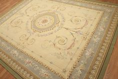 8x10-100-wool-hand-woven-French-Needlepoint-Aubusson-area-rug-flat-pile