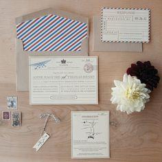 Vintage Travel Wedding Invitation - vintage postcard, telegram, travel invitation with bakers twine and flag tag. 4.50, via Etsy.
