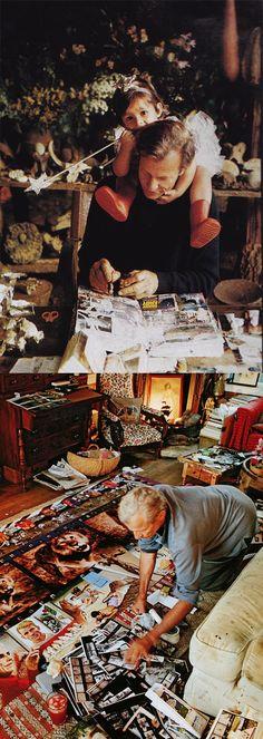 Peter Beard working on his diaries with his daugher Zara
