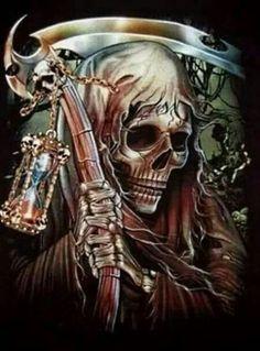 Depiction of the reaper of time Death Reaper, Grim Reaper Art, Don't Fear The Reaper, Dark Fantasy Art, Dark Art, Reaper Tattoo, Skull Artwork, Skull Painting, Body Painting