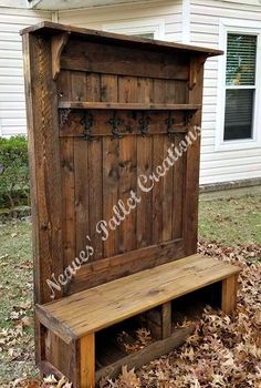 "RECYCLED WOOD PALLET:  This was a custom built Double-Shelf Hall Tree with two cubbies.  Here are the specs: 72.5"" tall x 52"" wide x 18"" deep. The bench is 18"" off of the ground, the middle shelf, above the 4 Fleur de Lis double hooks, is 40"" wide x 6"" deep and the top shelf is 51"" wide x 10"" deep. The charge for this Hall Tree was $350 stained. Item # 1,319 #CustomWoodworkingBench"