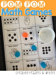 POM POM Math Games for K-1: These simple (and quiet) games are perfect for math workshop practice and independent centers. There are 30 different games covering multiple K-1 math skills. Answer keys, a student recording sheet, and teacher directions are included. 42 Pages, $