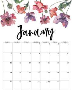 Free printable calendar of January 2020 – Floral. Watercolor flower design calendar pages for a home office or calendar for … Printable Calendar 2020, Cute Calendar, Blank Calendar, Print Calendar, Calendar Pages, Printable Planner, Wall Calendars, February Calendar, School Calendar