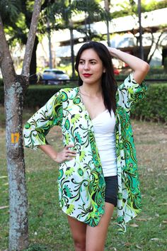 Green Floral Kimono, Kimono Cardigan, Kimono Robe, Kimono Jacket / Sheer Cover Up - One Size This sheer green kimono cardigan is perfect for the beach,