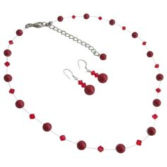 Price :$17.99 Red Pearls & Glistening Red Crystal Prom Or Semi Formal Jewelry Set Material Used : Genuine Swarovski 7mm Red Pearls with 4mm Bicone Siam Red Crystals for necklace. Color : Red  Necklace Length : 16 inches with 2 inches extension  Earrings Length : 3/4 inch long  Earrings Type : Sterling Silver 92.5 Hook