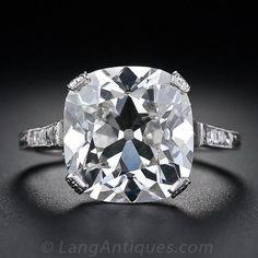 6.48 Carat Antique Cushion Cut Diamond Ring - 10-1-4842 - Lang Antiques