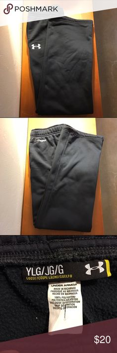 """Under Armour Storm Fleece Sweats Super warm black """"Storm"""" fleece sweats from Under Armour. Outer material is a sheer polyester while the inside is insulted with a fleece polyester. Has a pocket on each side. No draw string. Size youth large but they fit me and I wear a xs/small. Pet-free smoke-free home, make me an offer! Under Armour Pants"""