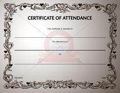 the 9 best certificate of attendance images on pinterest