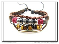 Adjustable Couple Cuff bracelets made of Brown by sevenvsxiao, $8.00