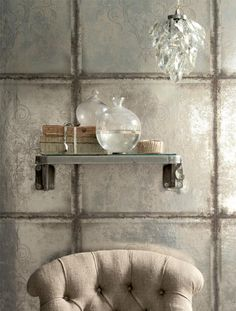 Metal and glass home accessories / Period Living Deco Baroque, Period Living, Tin Walls, Grey Home Decor, Wall Finishes, House Wall, Faux Painting, Wall Treatments, Wall Tiles