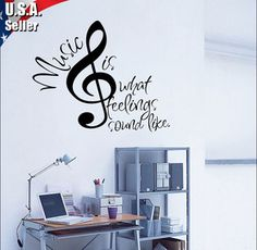 Wall Decor Art Vinyl Removable Mural Decal Sticker Musical Music Notes  #57