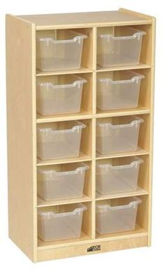 clear Birch 10 Cubby Tray Cabinet with Bins