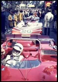 Toine Hezemans in the Alfa Romeo T33/3 ahead of Vic Elford's Porsche 908/03, Targa Florio 1970