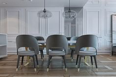 The dining area lives close to the living room, making it easy to transition to the different segments of a dinner party. The granite dining table on workhorse legs is just a bit artsy while the large gray chairs are cozy but not too plush.
