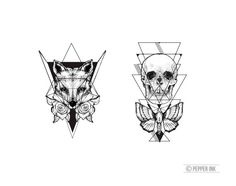 geometric temporary tattoo pack skull and moth & fox by pepperink