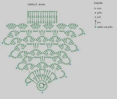 MB Crochê: Centrinho de mesa Natalino. Christmas Tree Doily. Diagrams only. ☀CQ #crochet #christmas