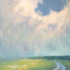 Summer Rain original landscape painting in oil by Steve Allrich