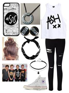 """5SOS Concert!"" by kay-g-04 ❤ liked on Polyvore featuring Miss Selfridge, Converse and New Look"