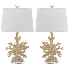 Coral Branch Creme Coastal Table Lamp Set of 2