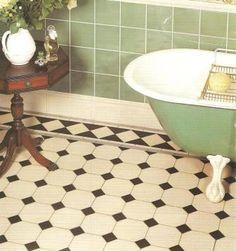 Wm Morris Reformed Gothic Revival encaustic bathroom floor tiles