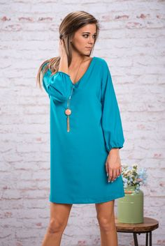 Cool As Can Be Dress, Aqua || You will be calm, cool and collected when you wear this dress! It's very reassuring to know that you look good and feel good! The color is so bright and cheery!