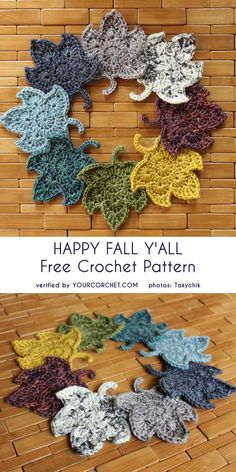 Happy Fall Y'All – Free Crochet Pattern Fall and… crochet weather, my favourite season of the year 🙂 In meantime during your brakes from crocheting, have you already been on fall forrest trip? Have you seen leaves changing shading and … Motif Mandala Crochet, Crochet Leaves, Crochet Motifs, Crochet Flowers, Crochet Stitches, Dishcloth Crochet, Crochet Afghans, Crochet Blankets, Crochet Crafts