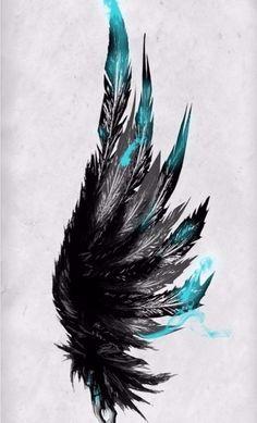 ▷ Über 75 Ideen für Tattoo Motive mit einem tiefen Sinn Plantilla para tatuaje, alas con plumas negras y azules Trendy Tattoos, Black Tattoos, Small Tattoos, Cool Tattoos, Black And Blue Tattoo, Black Art Tattoo, Hand Tattoo, Diy Tattoo, Bird Tattoo Men