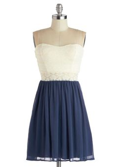 Fine and Dandy Dress in Navy - Solid, Lace, Daytime Party, A-line, Strapless, Good, Sweetheart, Mid-length, Sheer, Knit, Woven, Blue, Tan / Cream, Twofer, Variation