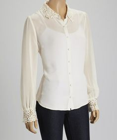 This Ivory Lace Button-Up - Women by Blu Pepper is perfect! #zulilyfinds