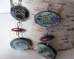 Abalone Dangle Earrings Long Double Paua by SusanHeleneDesigns, $28.00