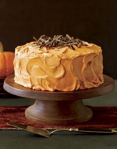 Spice cake with orange frosting