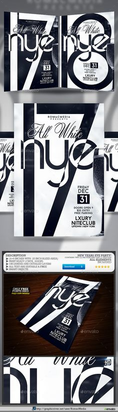 Abstract Party Flyer 01 Party flyer, Flyer template and Fonts - black and white flyer template
