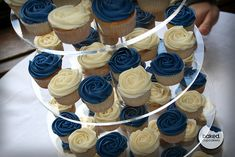 royal blue mini rose cupcakes in royal blue . Navy Cupcakes, Blue Wedding Cupcakes, Silver Cupcakes, Rustic Cupcakes, Valentine Cupcakes, Blue Desserts, Baking Desserts, Health Desserts, Blue White Weddings