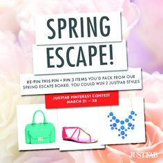 Show us your cute, sexy or glam getaway pieces! Click through to read the details on how to PIN to WIN your JustFab Spring must-haves. Details: https://www.facebook.com/justfab/app_122460337940022