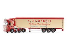Scania R Moving Floor Trailer (A Campbell) Diecast Model Lorry Corgi CC13753 1:50 scale in Red and Cream This Scania R Moving Floor Trailer Diecast Model Lorry is Red and Cream and features working wheels. It is made by Corgi and is 1:50 scale (approx. 40cm / 15.7in long).    Established in 1987, A.L. Campbell Haulage is a small family run business based at Carstairs Junction, Scotland.  Allan Campbell purchased his first Volvo truck in 1986 with a tipping trailer and through years of hard…