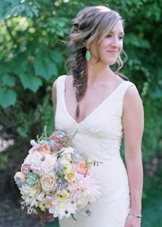 This fishtail braid is the perfect hairstyle to create a rustic chic wedding.