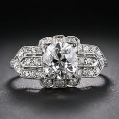 1.51 Carat Old Mine-Cut Diamond Art Deco Style Engagement Ring