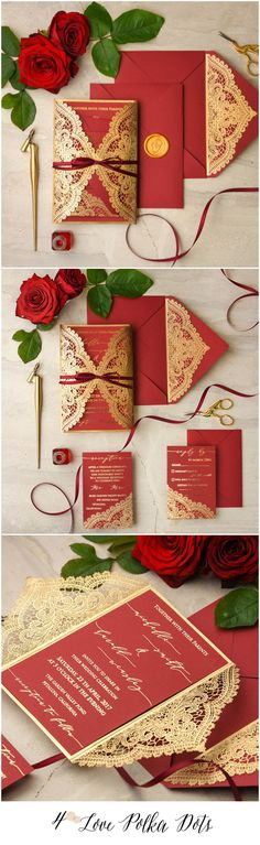 Red & Gold laser cut lace romantic wedding invitations #sponsored
